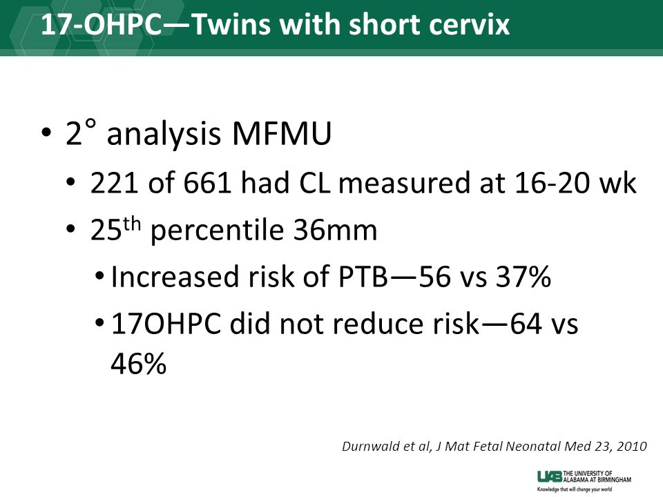 17-OHPC—Twins with short cervix 2° analysis MFMU 221 of 661 had CL measured at 16-20 wk 25 th percentile 36mm Increased risk of PTB—56 vs 37% 17OHPC did not reduce risk—64 vs 46% Durnwald et al, J Mat Fetal Neonatal Med 23, 2010