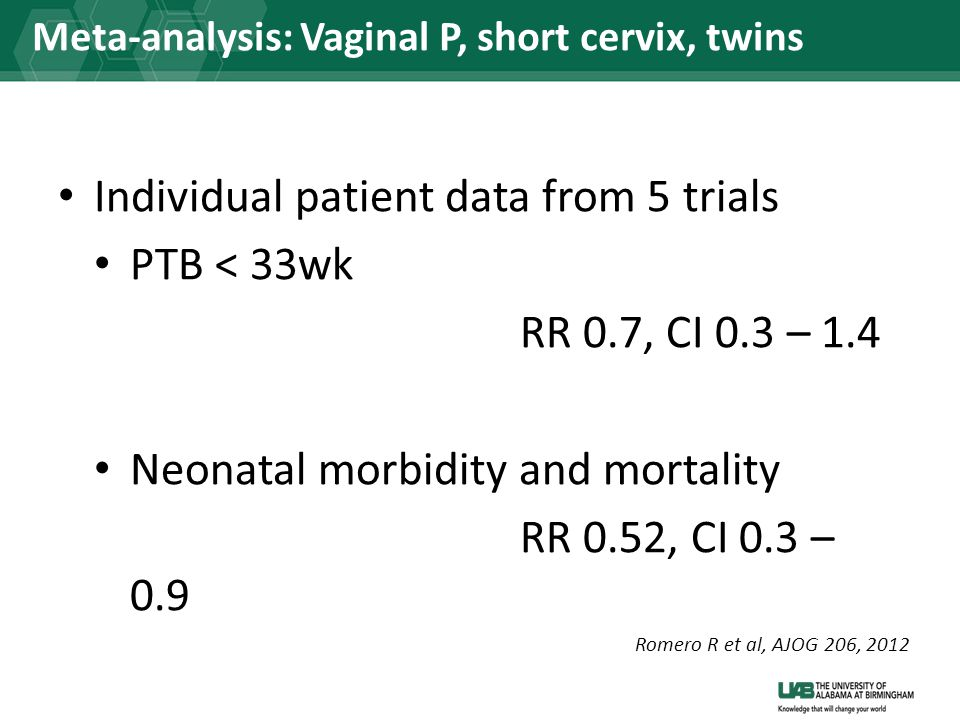 Meta-analysis: Vaginal P, short cervix, twins Individual patient data from 5 trials PTB < 33wk RR 0.7, CI 0.3 – 1.4 Neonatal morbidity and mortality R