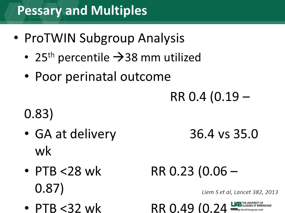Pessary and Multiples ProTWIN Subgroup Analysis 25 th percentile  38 mm utilized Poor perinatal outcome RR 0.4 (0.19 – 0.83) GA at delivery36.4 vs 35.0 wk PTB <28 wkRR 0.23 (0.06 – 0.87) PTB <32 wkRR 0.49 (0.24 – 0.97) Liem S et al, Lancet 382, 2013