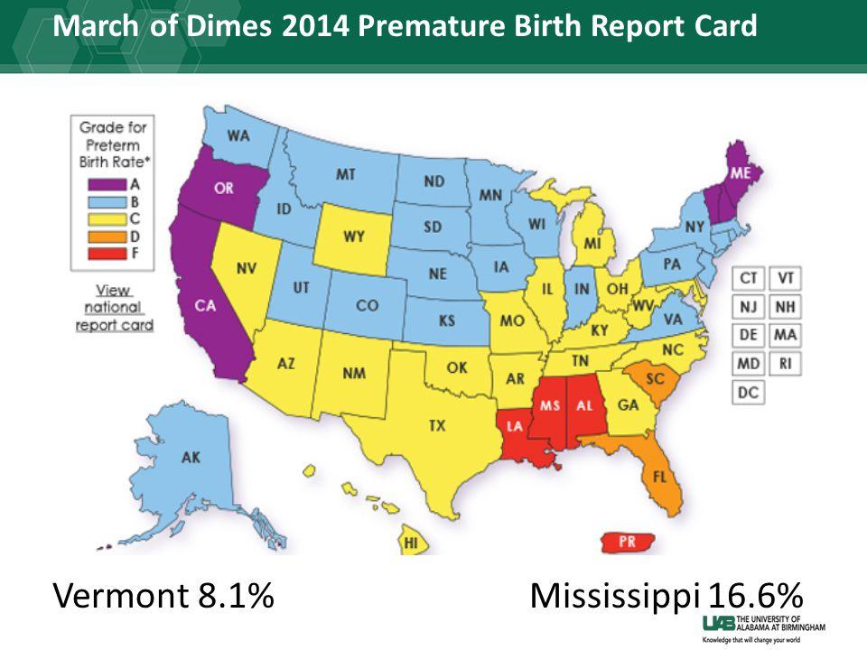 March of Dimes 2014 Premature Birth Report Card Vermont 8.1%Mississippi 16.6%