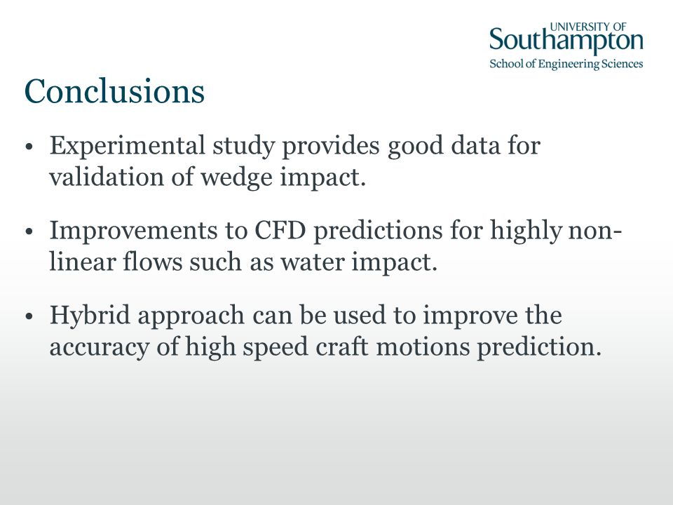 Conclusions Experimental study provides good data for validation of wedge impact. Improvements to CFD predictions for highly non- linear flows such as