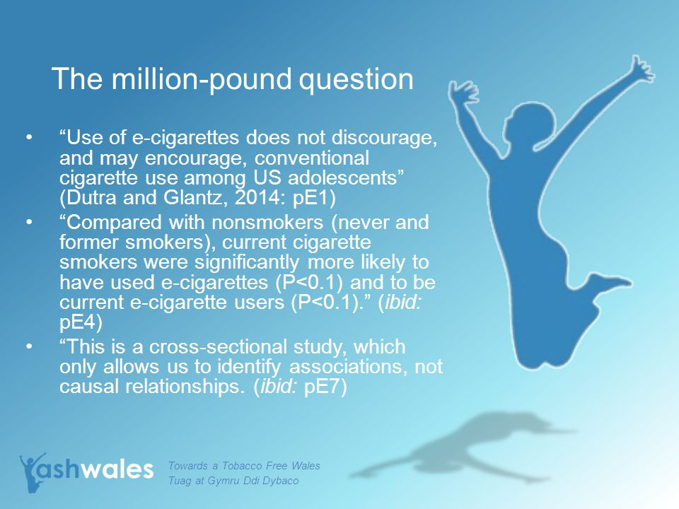 "The million-pound question ""Use of e-cigarettes does not discourage, and may encourage, conventional cigarette use among US adolescents"" (Dutra and Gl"