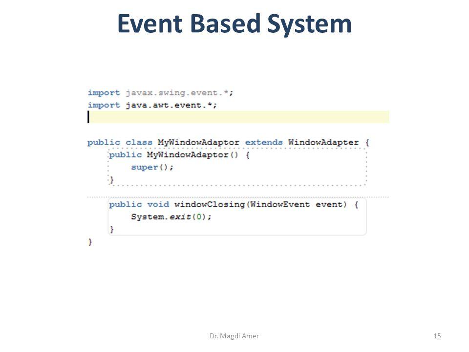 Dr. Magdi Amer15 Event Based System