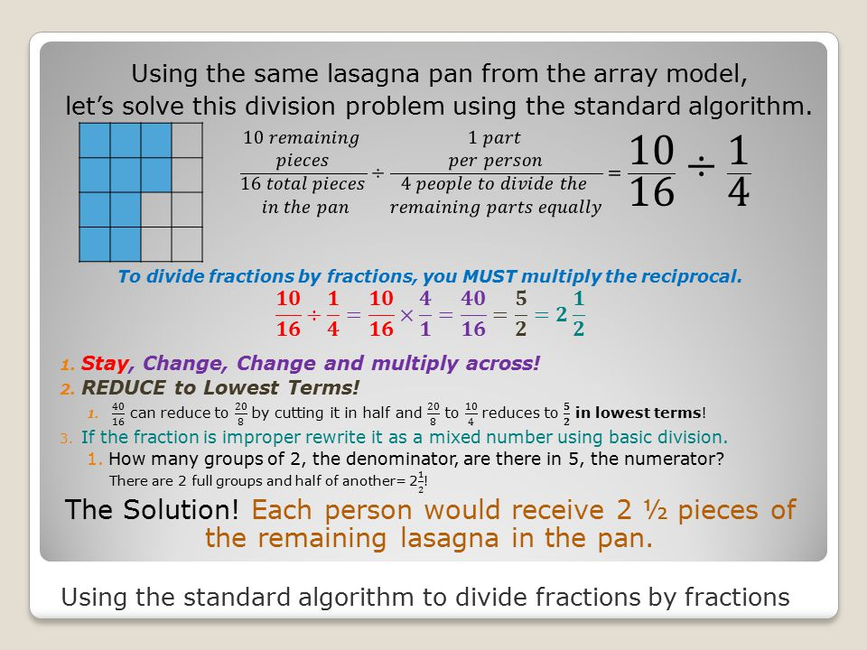 Using the standard algorithm to divide fractions by fractions Using the same lasagna pan from the array model, let's solve this division problem using the standard algorithm.