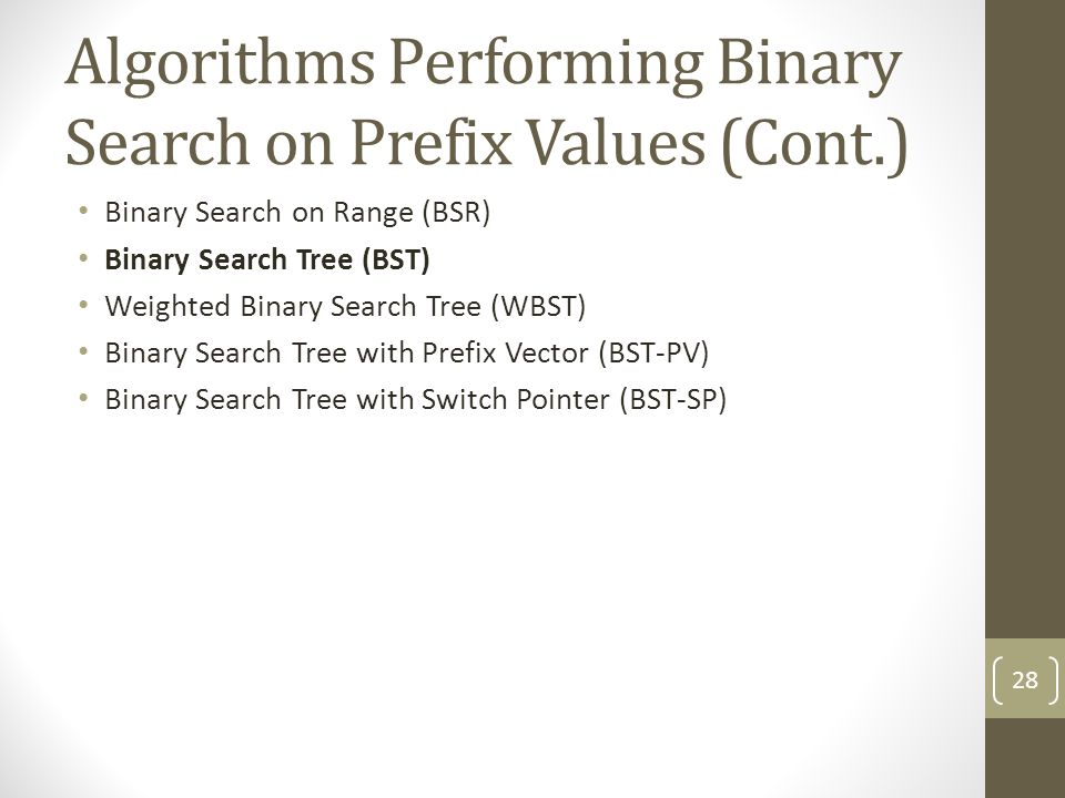 Algorithms Performing Binary Search on Prefix Values (Cont.) Binary Search on Range (BSR) Binary Search Tree (BST) Weighted Binary Search Tree (WBST) Binary Search Tree with Prefix Vector (BST-PV) Binary Search Tree with Switch Pointer (BST-SP) 28