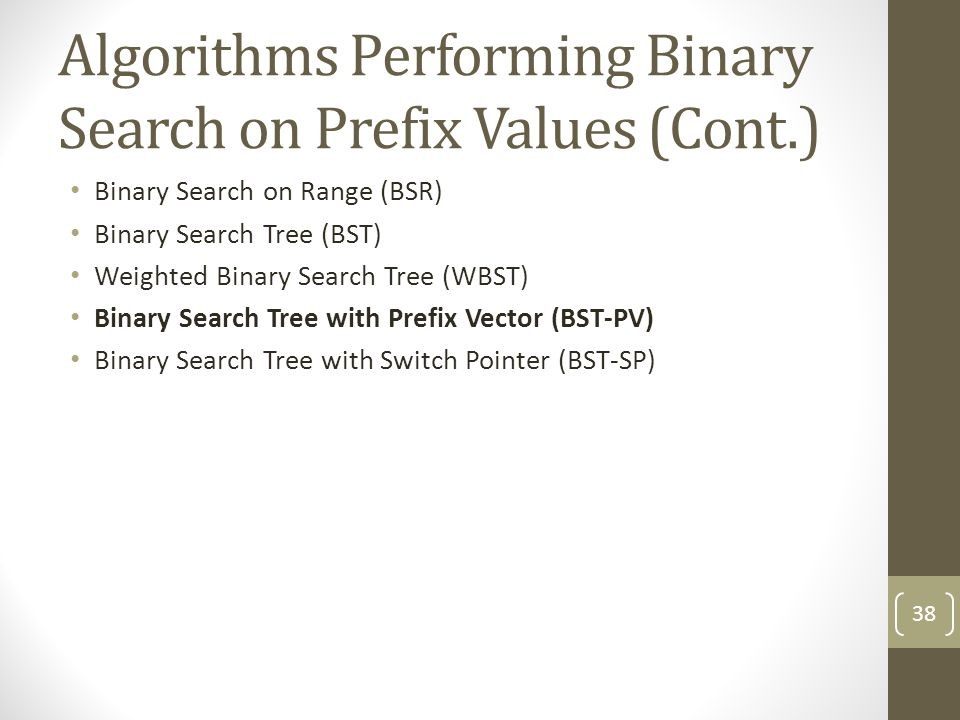 Algorithms Performing Binary Search on Prefix Values (Cont.) Binary Search on Range (BSR) Binary Search Tree (BST) Weighted Binary Search Tree (WBST) Binary Search Tree with Prefix Vector (BST-PV) Binary Search Tree with Switch Pointer (BST-SP) 38