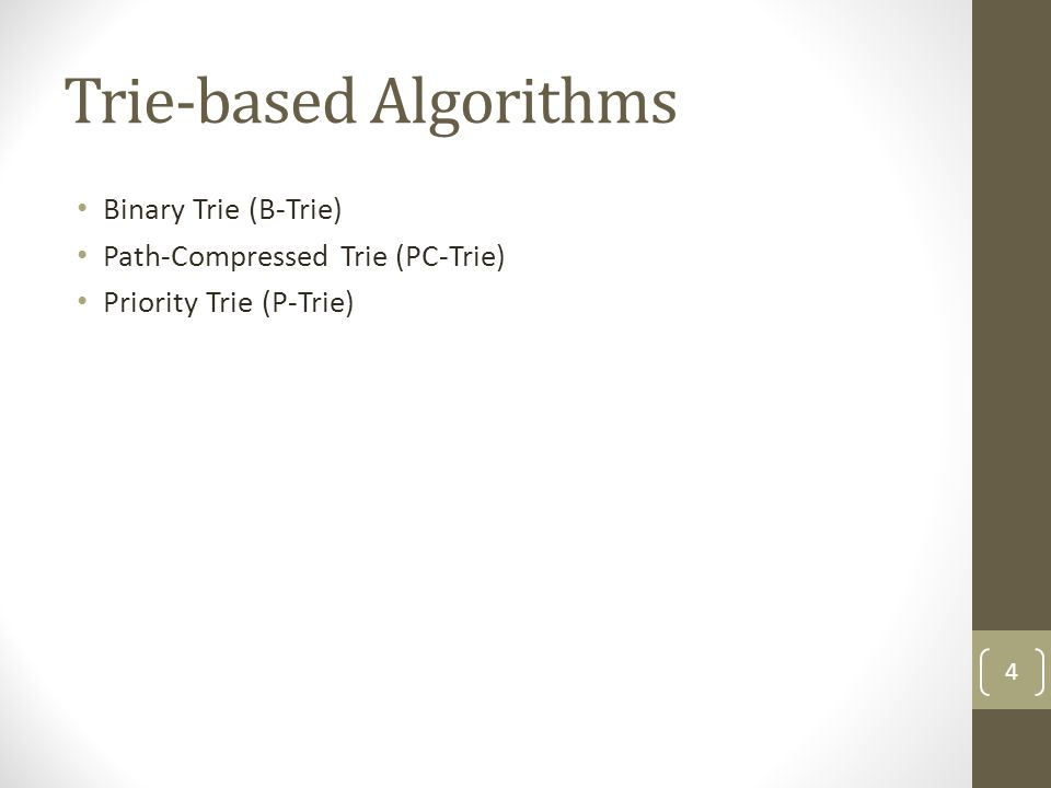 Algorithms Performing Binary Search on Prefix Values (Cont.) Binary Search Tree with Switch Pointer (BST-SP) No.Prefix P000* P1010* P21* P3110101* P41101* P5111* P611111* P6 3 15 2 4 60 P5 P3 P1 P2 P4P0 No.PrefixLength Output port Switch pointer Enclosure length 000*1P0-0 1010*3P1-0 21*1P2-0 3110101*6P344 41101*4P421 5111*3P521 611111*5P653 45