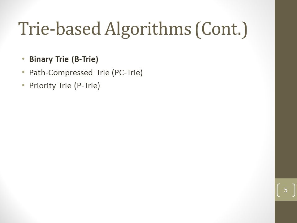Algorithms Performing Binary Search on Prefix Values (Cont.) Weighted Binary Search Tree (WBST) Example Input : 110100 Path : 0 -> 2 -> 4 Output port : P2 -> P4 No.Prefix P000* P1010* P21* P3110101* P41101* P5111* P611111* P5 0 12 345 6 P4 P2 P0 P1P3 P6 36