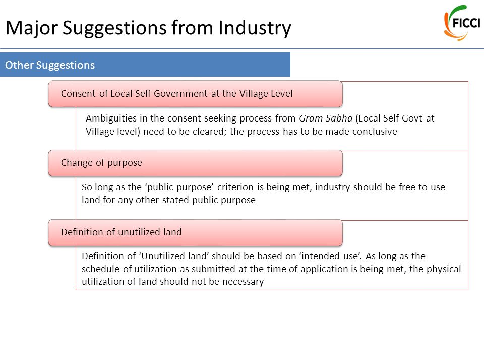 Major Suggestions from Industry Other Suggestions Consent of Local Self Government at the Village LevelChange of purposeDefinition of unutilized land So long as the 'public purpose' criterion is being met, industry should be free to use land for any other stated public purpose Definition of 'Unutilized land' should be based on 'intended use'.