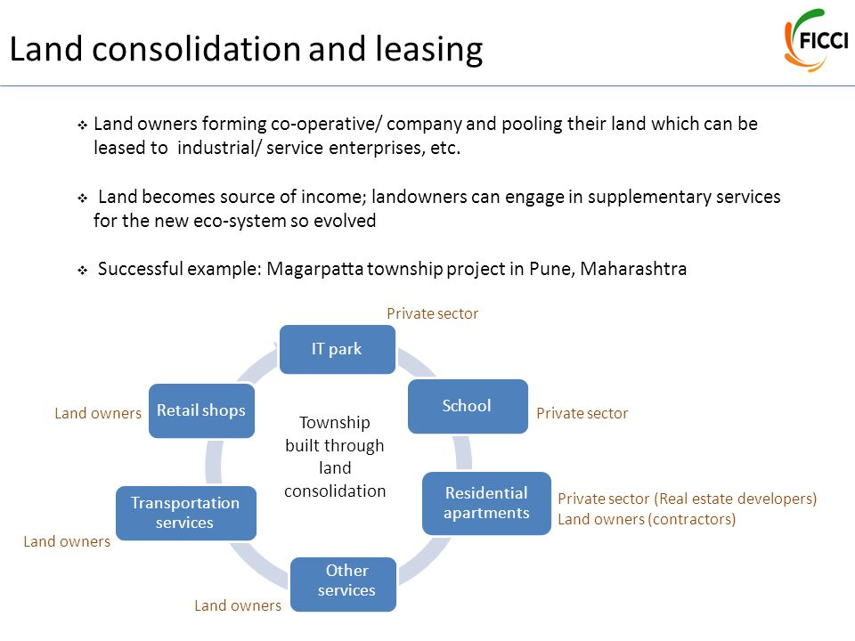Land consolidation and leasing  Land owners forming co-operative/ company and pooling their land which can be leased to industrial/ service enterpris