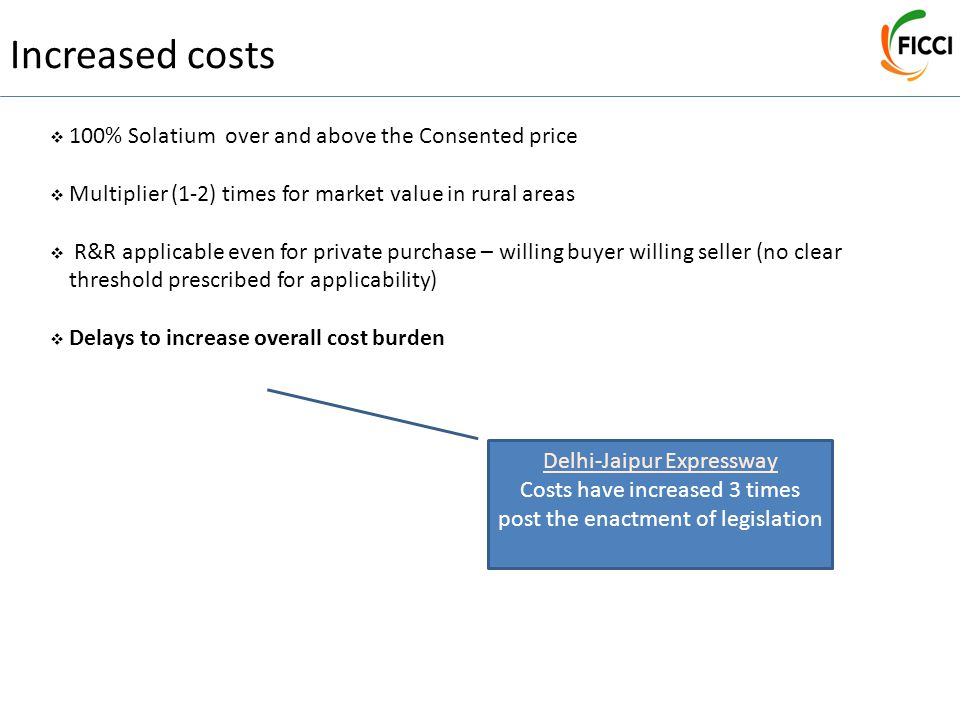Delhi-Jaipur Expressway Costs have increased 3 times post the enactment of legislation Increased costs  100% Solatium over and above the Consented price  Multiplier (1-2) times for market value in rural areas  R&R applicable even for private purchase – willing buyer willing seller (no clear threshold prescribed for applicability)  Delays to increase overall cost burden