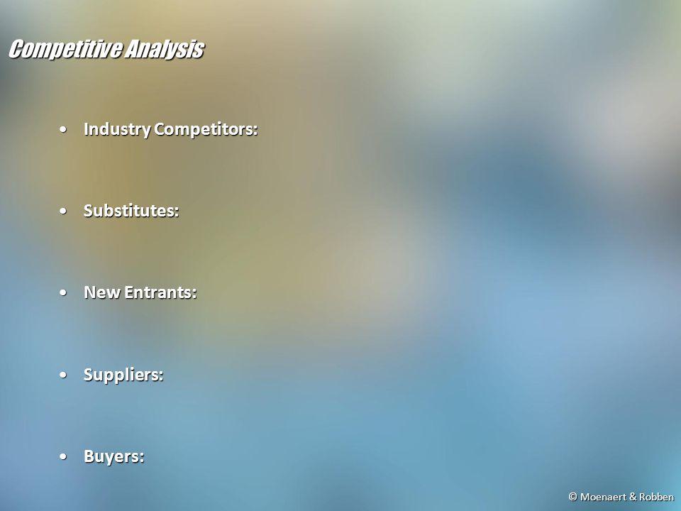 © Moenaert & Robben Competitive Analysis Industry Competitors:Industry Competitors: Substitutes:Substitutes: New Entrants:New Entrants: Suppliers:Suppliers: Buyers:Buyers: