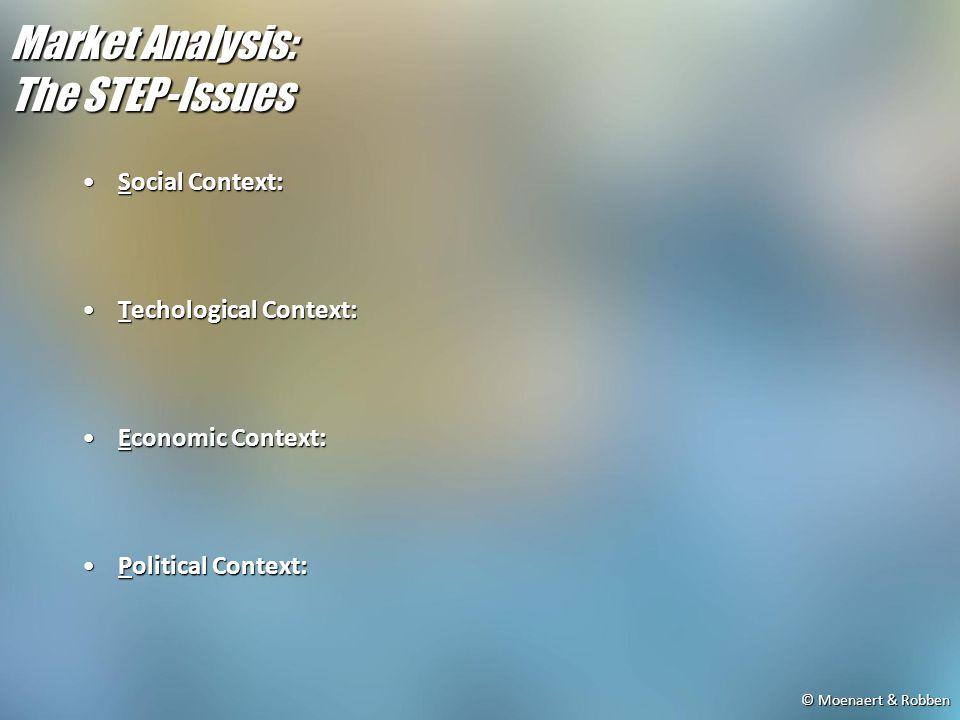 © Moenaert & Robben Market Analysis: The STEP-Issues Social Context:Social Context: Techological Context:Techological Context: Economic Context:Economic Context: Political Context:Political Context: