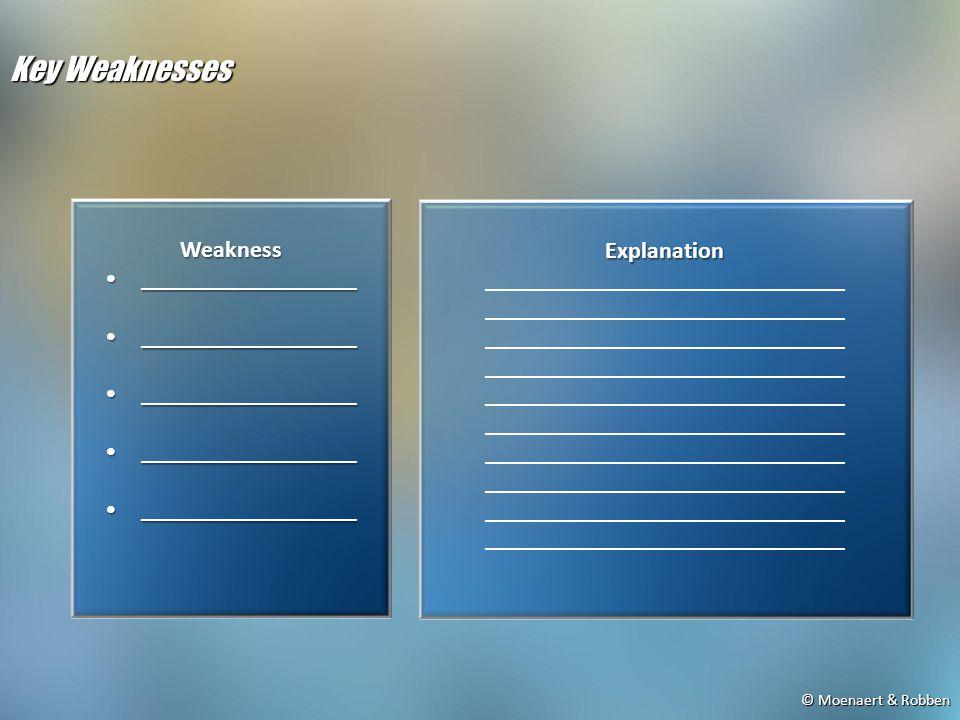 © Moenaert & Robben Key Weaknesses Weakness ____________________________________ Explanation ______________________________
