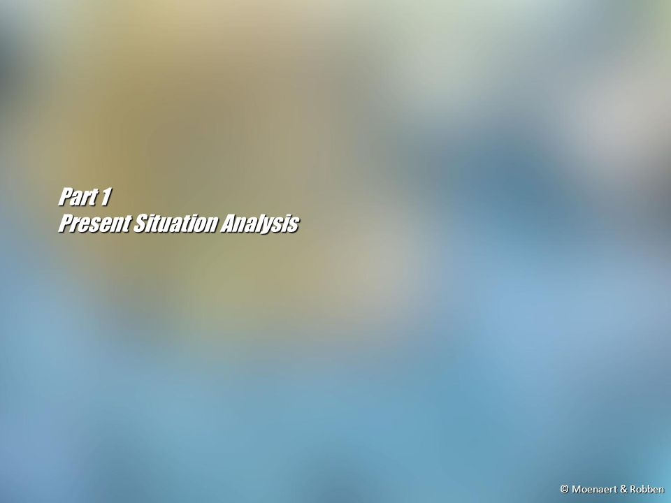 © Moenaert & Robben Part 1 Present Situation Analysis