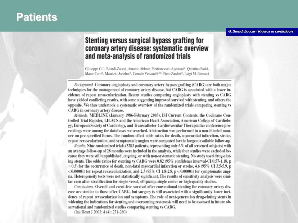 G. Biondi Zoccai – Ricerca in cardiologia Patients