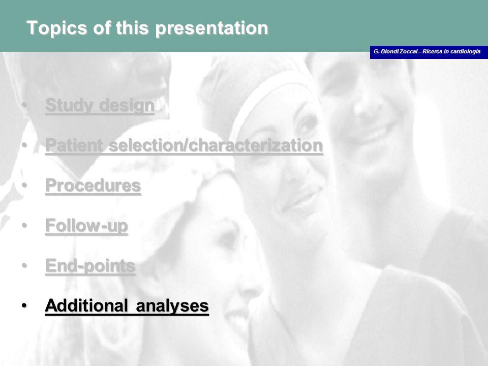 Topics of this presentation Study designStudy design Patient selection/characterizationPatient selection/characterization ProceduresProcedures Follow-