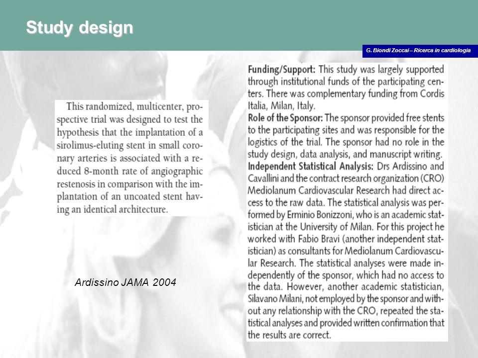 G. Biondi Zoccai – Ricerca in cardiologia Study design Ardissino JAMA 2004