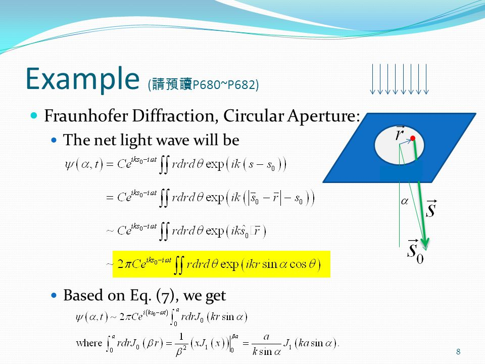 Example ( 請預讀 P680~P682) Fraunhofer Diffraction, Circular Aperture: The net light wave will be Based on Eq.
