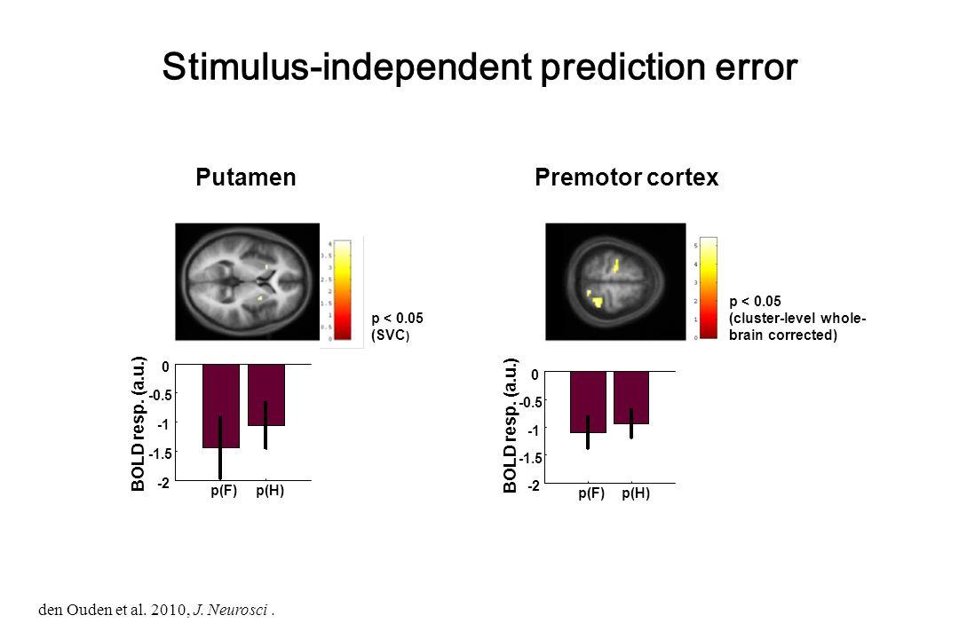 PutamenPremotor cortex Stimulus-independent prediction error p < 0.05 (SVC ) p < 0.05 (cluster-level whole- brain corrected) p(F) p(H) -2 -1.5 -0.5 0 BOLD resp.
