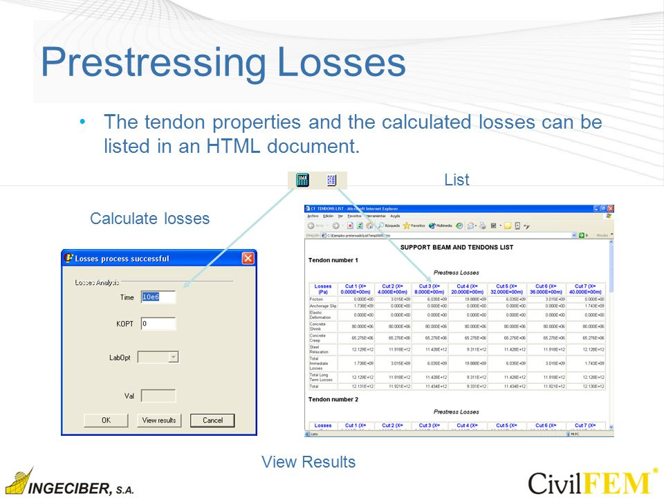 Prestressing Losses The tendon properties and the calculated losses can be listed in an HTML document.