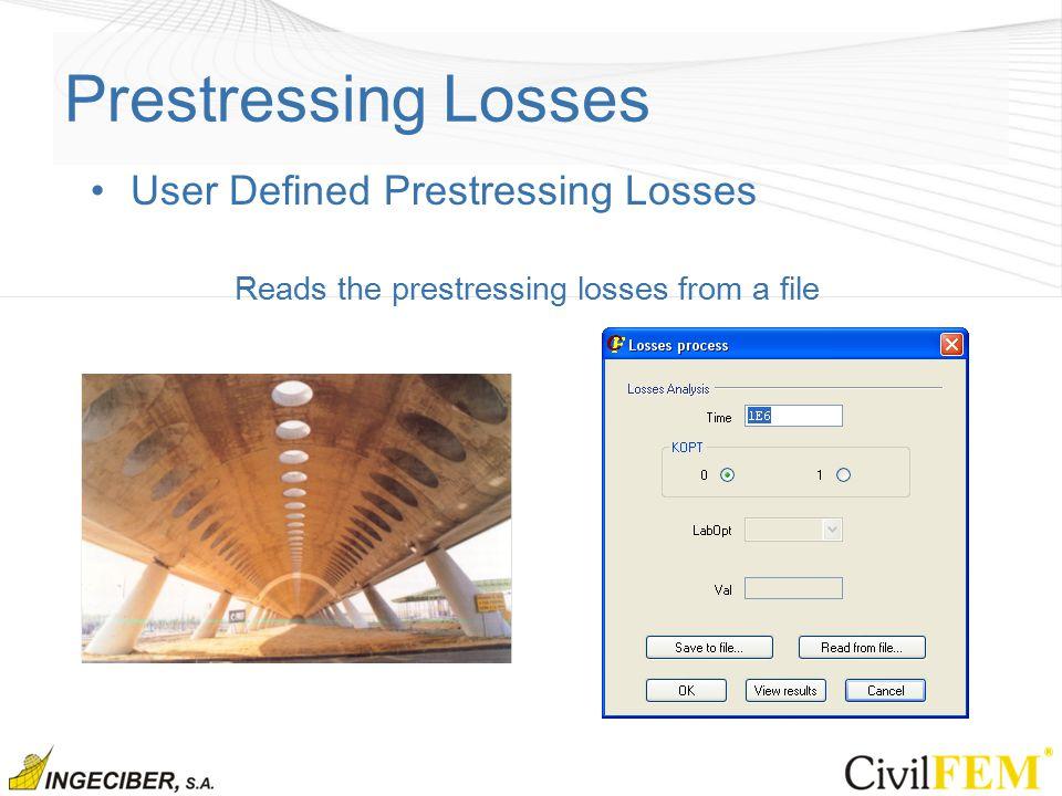 Prestressing Losses User Defined Prestressing Losses Reads the prestressing losses from a file