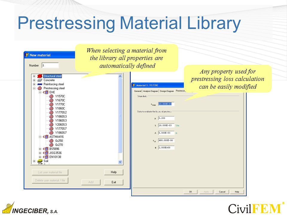 Prestressing Material Library When selecting a material from the library all properties are automatically defined Any property used for prestressing loss calculation can be easily modified