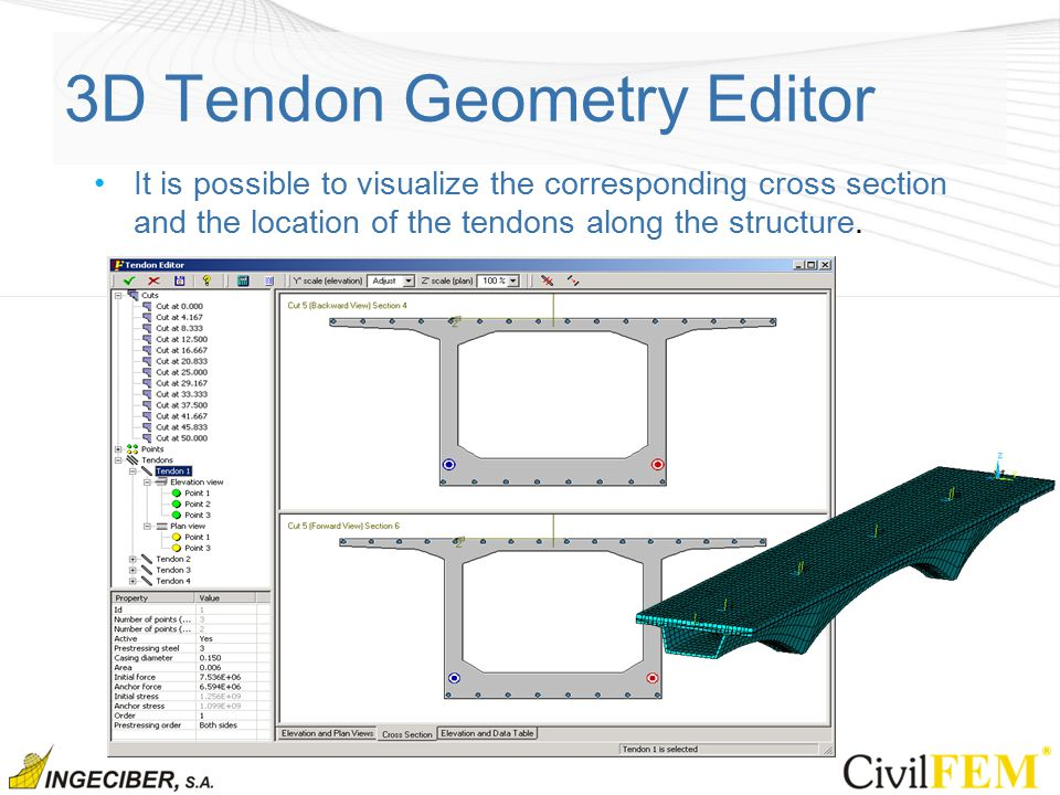 3D Tendon Geometry Editor It is possible to visualize the corresponding cross section and the location of the tendons along the structure.