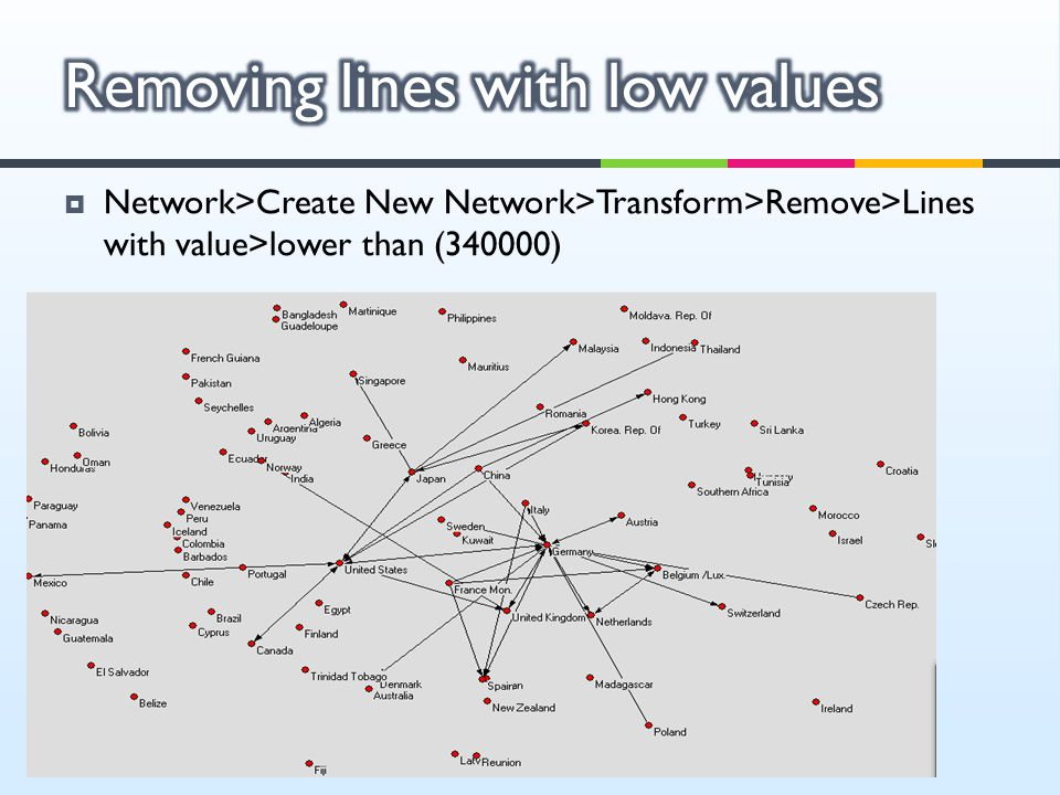  Network>Create New Network>Transform>Remove>Lines with value>lower than (340000)