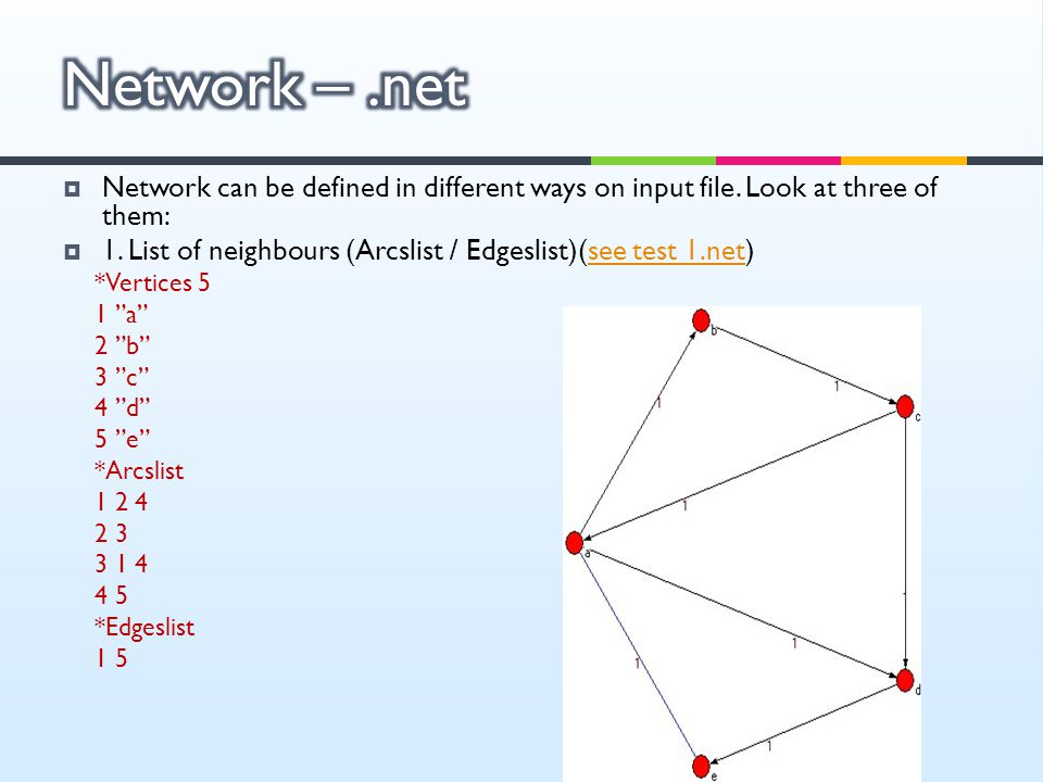  Network can be defined in different ways on input file. Look at three of them:  1. List of neighbours (Arcslist / Edgeslist)(see test 1.net)see tes