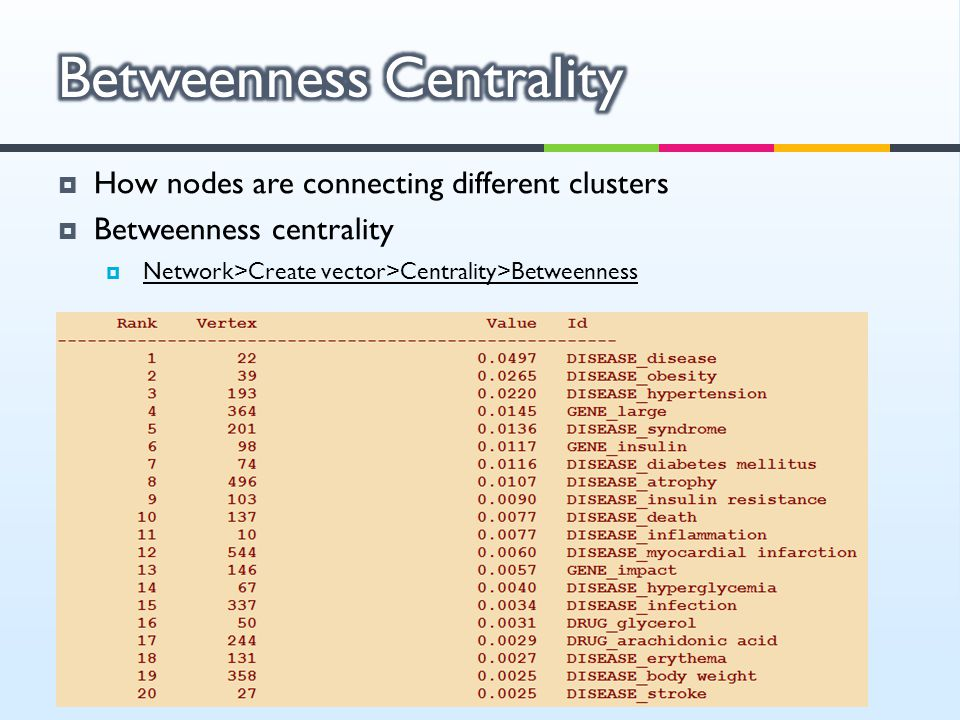  How nodes are connecting different clusters  Betweenness centrality  Network>Create vector>Centrality>Betweenness