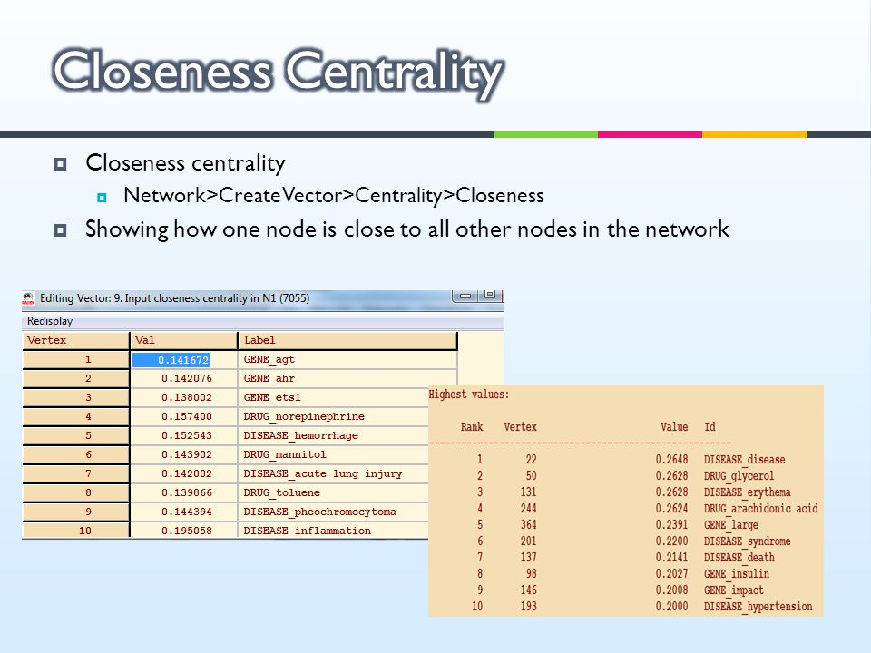  Closeness centrality  Network>Create Vector>Centrality>Closeness  Showing how one node is close to all other nodes in the network