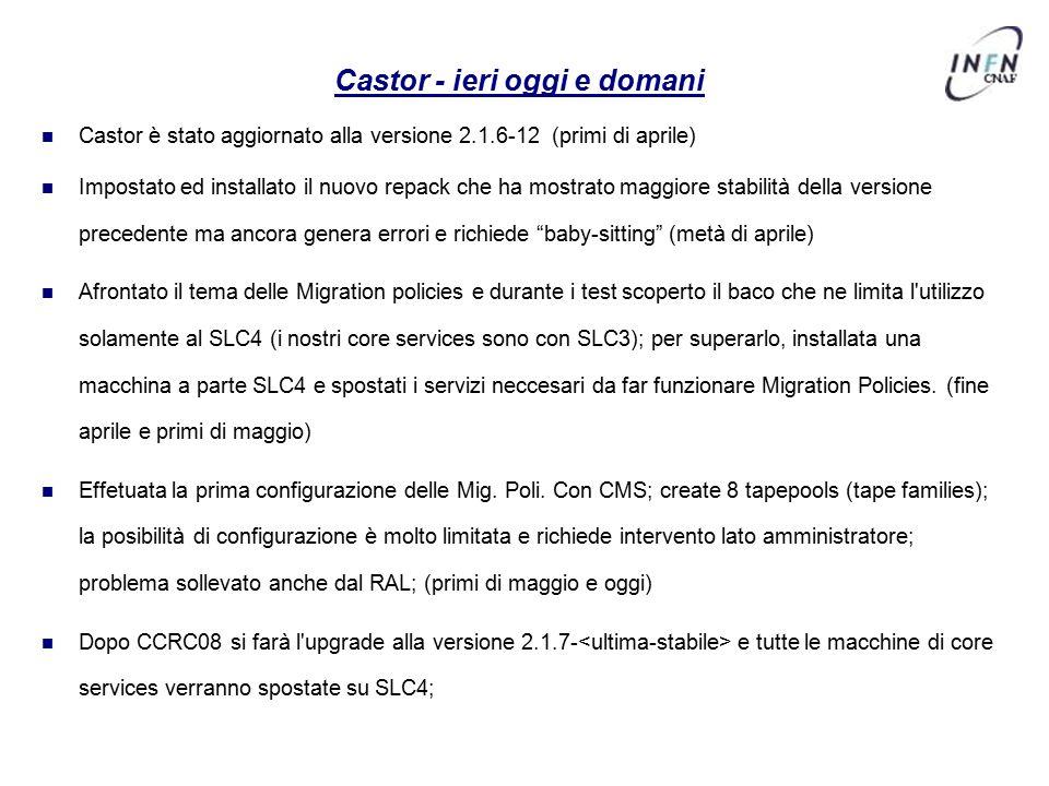 Castor - ieri oggi e domani Castor è stato aggiornato alla versione 2.1.6-12 (primi di aprile) Impostato ed installato il nuovo repack che ha mostrato maggiore stabilità della versione precedente ma ancora genera errori e richiede baby-sitting (metà di aprile) Afrontato il tema delle Migration policies e durante i test scoperto il baco che ne limita l utilizzo solamente al SLC4 (i nostri core services sono con SLC3); per superarlo, installata una macchina a parte SLC4 e spostati i servizi neccesari da far funzionare Migration Policies.