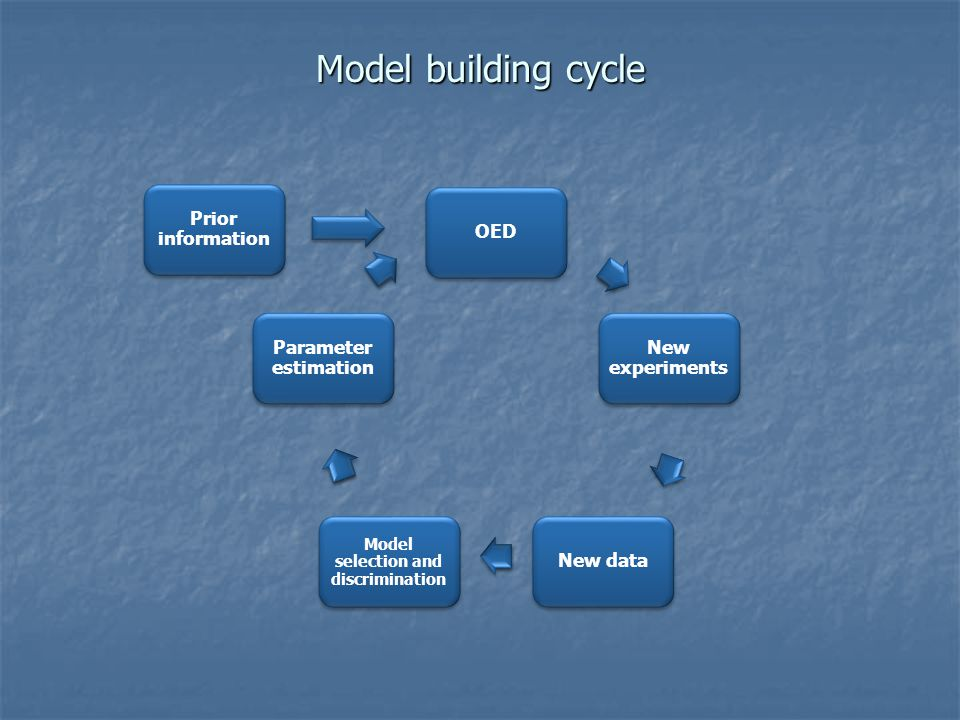 Model building cycle OED New experiments New data Model selection and discrimination Parameter estimation Prior information