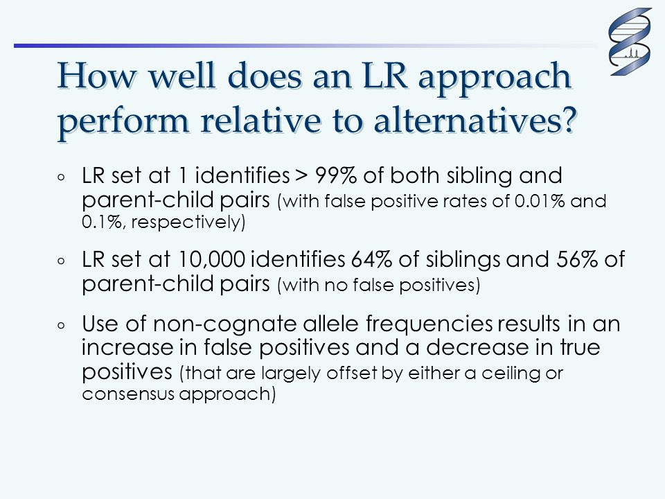 How well does an LR approach perform relative to alternatives?  LR set at 1 identifies > 99% of both sibling and parent-child pairs (with false posit