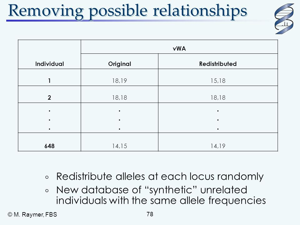 "© M. Raymer, FBS 78 Removing possible relationships  Redistribute alleles at each locus randomly  New database of ""synthetic"" unrelated individuals"