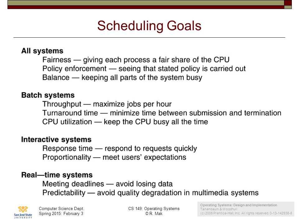 Computer Science Dept. Spring 2015: February 3 CS 149: Operating Systems © R. Mak 16 Scheduling Goals Operating Systems: Design and Implementation Tan