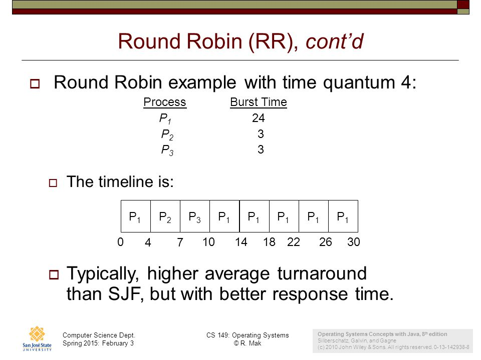 Computer Science Dept. Spring 2015: February 3 CS 149: Operating Systems © R. Mak 24 Round Robin (RR), cont'd  Round Robin example with time quantum