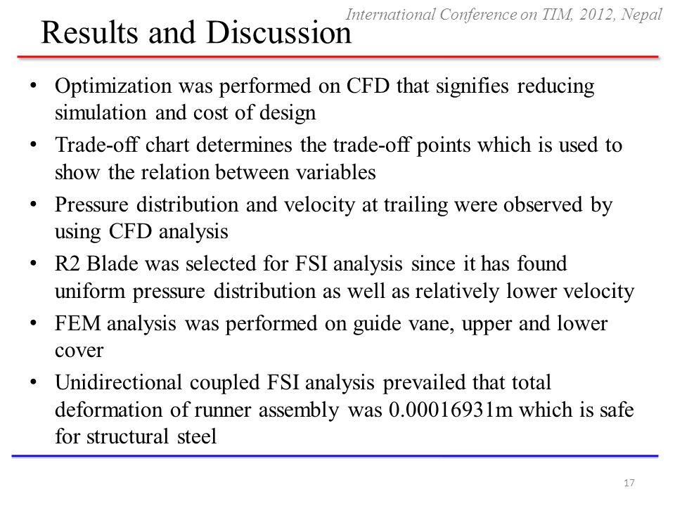Results and Discussion Optimization was performed on CFD that signifies reducing simulation and cost of design Trade-off chart determines the trade-of