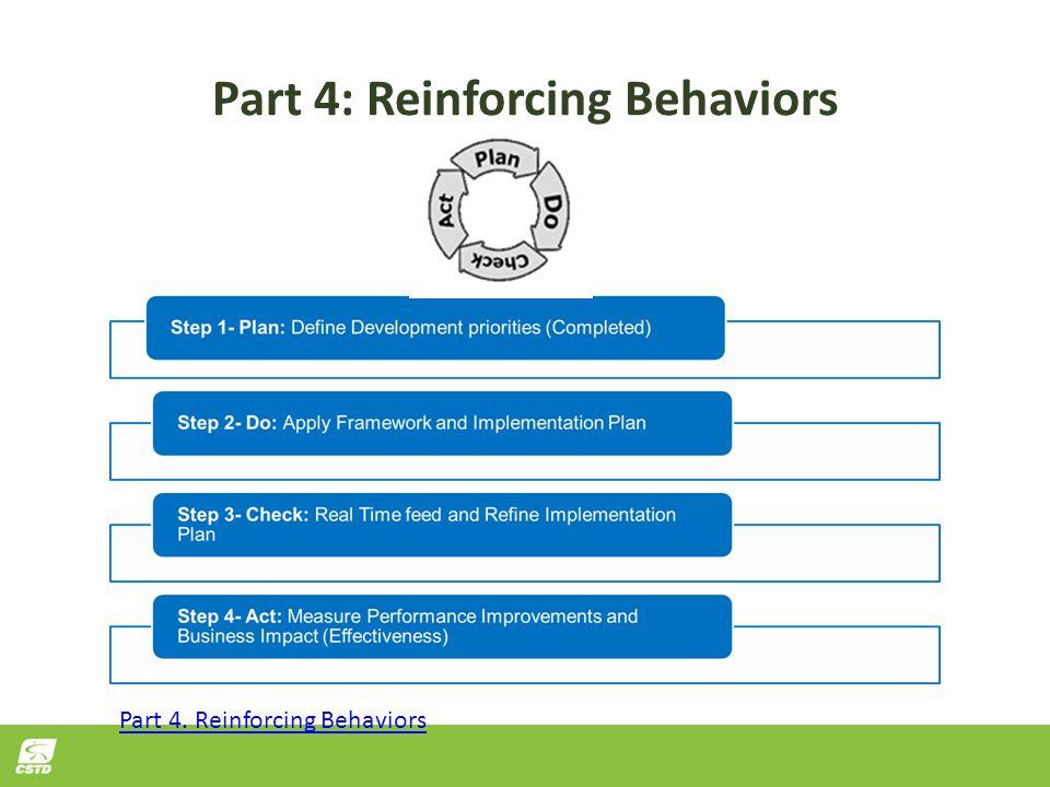Part 4: Reinforcing Behaviors Part 4. Reinforcing Behaviors