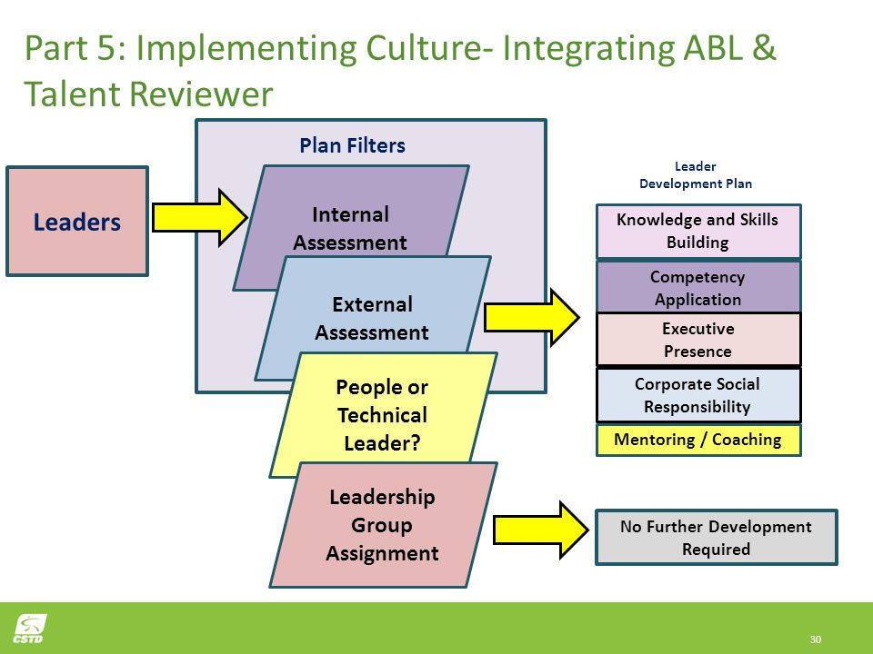 30 Knowledge and Skills Building Competency Application Mentoring / Coaching Leaders Plan Filters Leader Development Plan Part 5: Implementing Culture- Integrating ABL & Talent Reviewer Development Plan to Reality Internal Assessment Corporate Social Responsibility Executive Presence External Assessment People or Technical Leader.