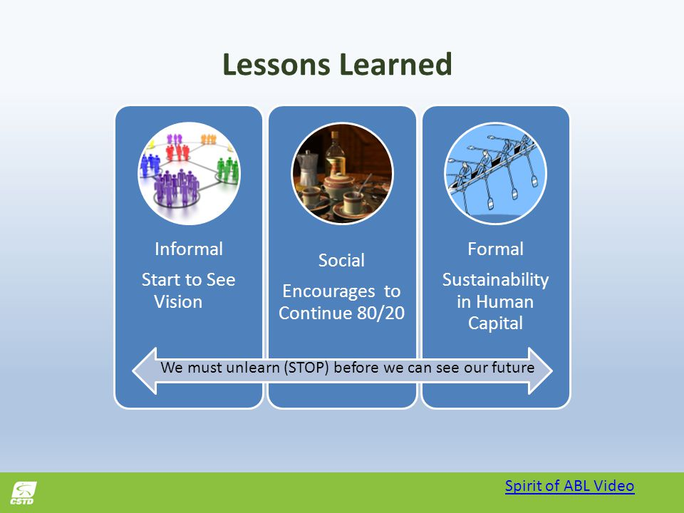 Lessons Learned Spirit of ABL Video Informal Start to See Vision Social Encourages to Continue 80/20 Formal Sustainability in Human Capital We must unlearn (STOP) before we can see our future
