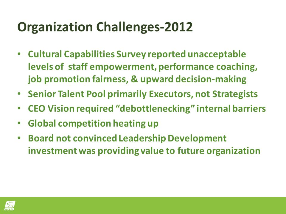 Organization Challenges-2012 Cultural Capabilities Survey reported unacceptable levels of staff empowerment, performance coaching, job promotion fairn