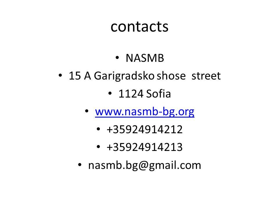 contacts NASMB 15 A Garigradsko shose street 1124 Sofia www.nasmb-bg.org +35924914212 +35924914213 nasmb.bg@gmail.com