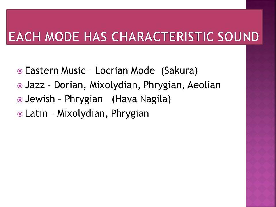  Eastern Music – Locrian Mode (Sakura)  Jazz – Dorian, Mixolydian, Phrygian, Aeolian  Jewish – Phrygian (Hava Nagila)  Latin – Mixolydian, Phrygian