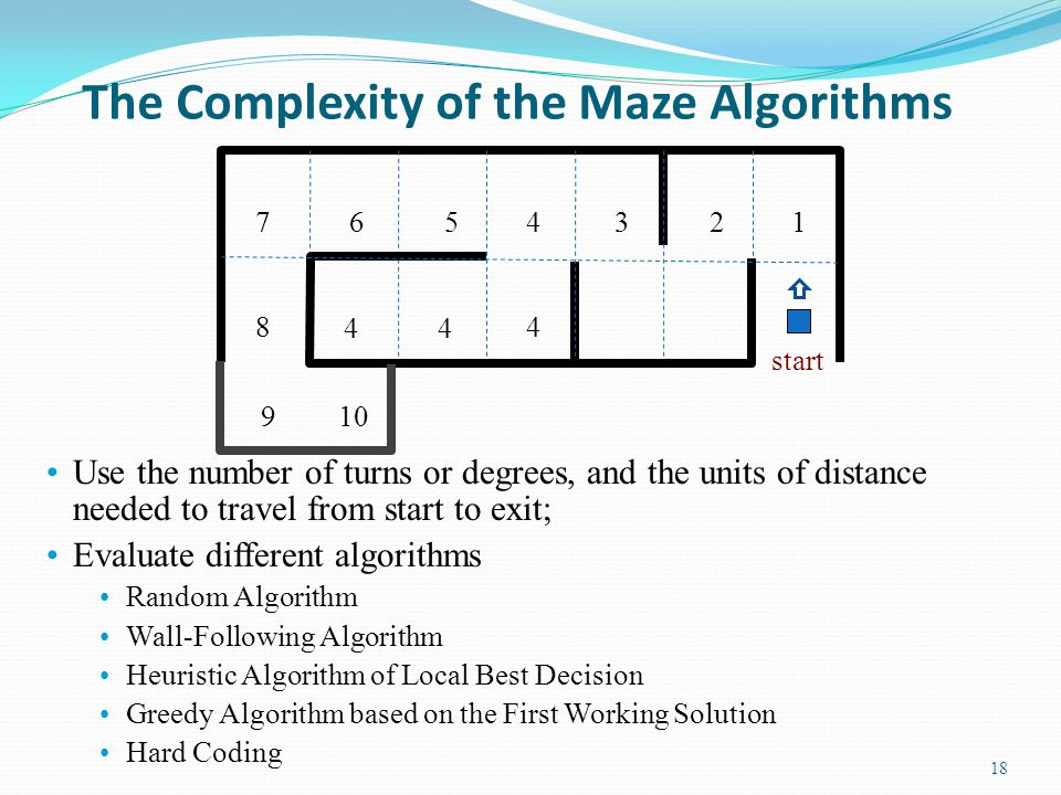 Autonomous Maze Traversing Algorithm 1.The robot is in state Forward and moves forward; 2.If the distance measured by the range sensor is less than 400 millimeter, it turns (90 degree) right; 3.After the event rightFinished occurs, it saves the distance measured to the variable RightDistance; 4.The robot then spins 180 degree left to measure the distance on the other side; 5.After the event leftFinished occurs, it compares the distance measured with the values saved in the variable RightDistance; 6.If the current distance is longer, it transits to the state Forward to move forward; 7.Otherwise, it resumes (spins 180 degree) to the other direction; 8.Then, it transits to step 1: to move forward.