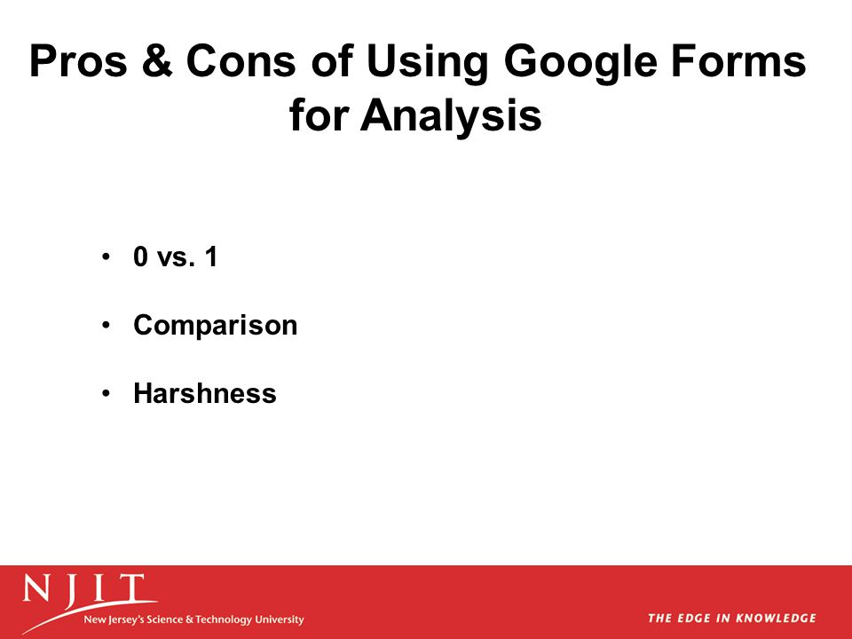 Pros & Cons of Using Google Forms for Analysis 0 vs. 1 Comparison Harshness