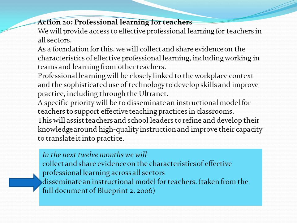Action 20: Professional learning for teachers We will provide access to effective professional learning for teachers in all sectors.