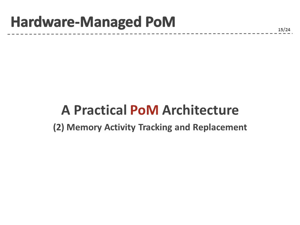 15/24 A Practical PoM Architecture (2) Memory Activity Tracking and Replacement