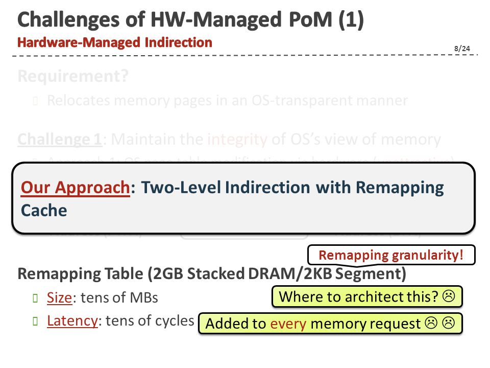 9/24 Challenge 2: Provide efficient memory-usage monitoring/replacement mechanisms Activity Tracking Structure (8GB total memory/4KB page) Track as many as 2M entries Compare/sort counters (non-trivial) Memory Pages P1 P2 P5 P6 P3 P4 P7 P8 P9 P10 P13 P14 P11 P12 P15 P16 Counters 00 00 00 0 0 00 00 00 00 1 1 1 2 1 7 87422797 4887124 483637238 5676282 Our Approach: Competing Counter-Based Tracking and Replacement MBs of storage for counters unresponsive decision